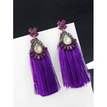 Bohemia Rhinestone Inlay Flower Dangle Earrings - PURPLE