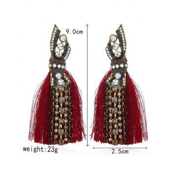Geometric Faux Diamond Tassel Tribal Drop Earrings - RED
