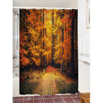 Autumn Forest Printed Waterproof Shower Curtain - GOLD BROWN W71 INCH * L71 INCH