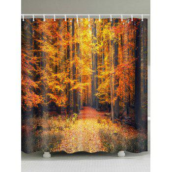 Autumn Forest Printed Waterproof Shower Curtain - GOLD BROWN GOLD BROWN