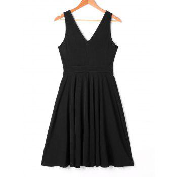 Embroidered Plunging Neck Swing Dress - BLACK M