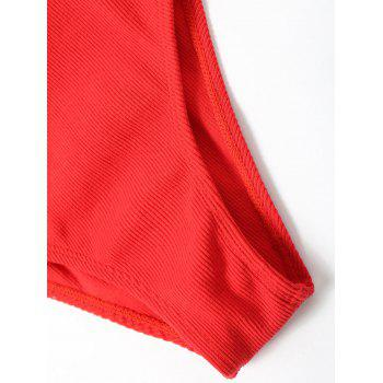 No Pad High Leg Ribbed One Piece Swimwear - RED XL