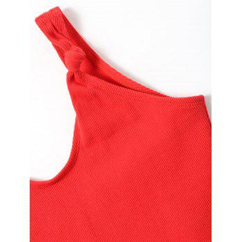 No Pad High Leg Ribbed One Piece Swimwear - RED S