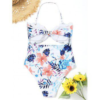Floral High Leg Cut Out Swimsuit - WHITE S