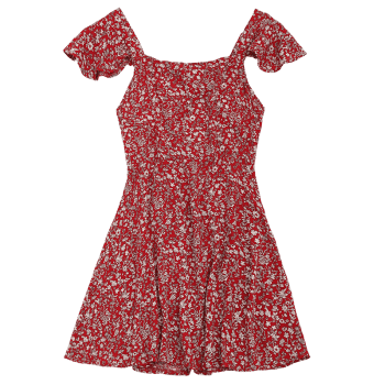 Square Neck Criss Cross Floral Print Dress - DEEP RED XL