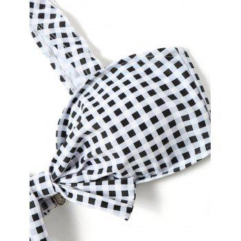 Plaid Knotted Thong Bikini Set - WHITE/BLACK L