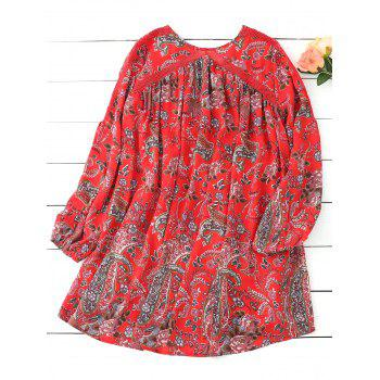 Floral Lace Up Long Sleeve Mini Dress - RED S