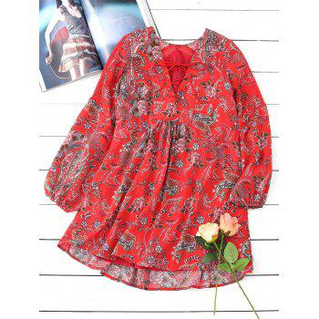 Floral Lace Up Long Sleeve Mini Dress - RED RED