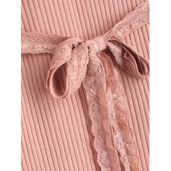 Lace Belted Side Slit Sweater Dress - PINK ONE SIZE