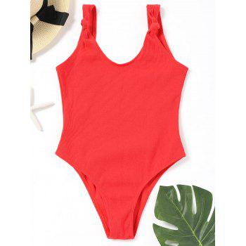No Pad High Leg Ribbed One Piece Swimwear - RED RED