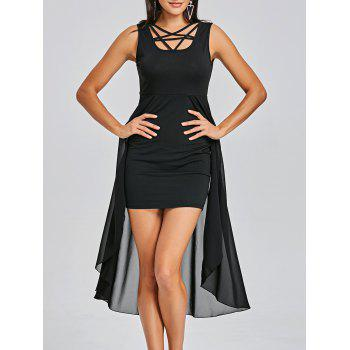 Sleeveless Fitted Dress with Overlay Skirt - BLACK BLACK
