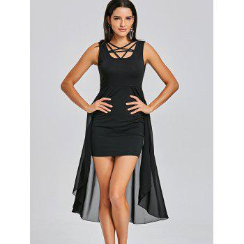 Sleeveless Fitted Dress with Overlay Skirt - BLACK M
