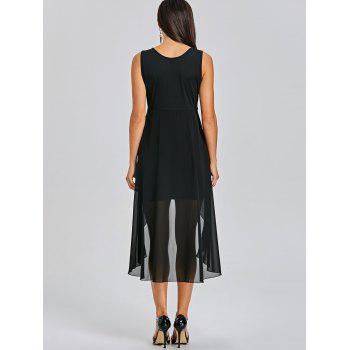 Sleeveless Fitted Dress with Overlay Skirt - BLACK L