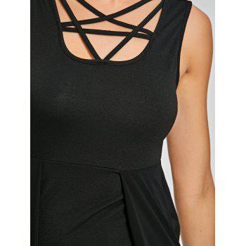 Sleeveless Fitted Dress with Overlay Skirt - BLACK XL