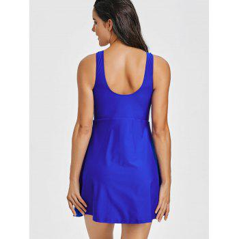 One Piece U Neck Skirted Swimsuit - BLUE L