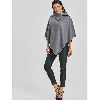 Zippered Turndown Collar Poncho - GRAY GRAY
