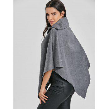Zippered Turndown Collar Poncho - GRAY ONE SIZE
