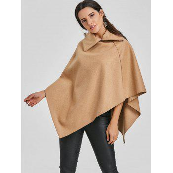 Zippered Turndown Collar Poncho - CAMEL ONE SIZE