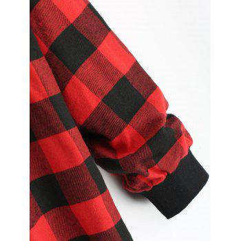 Plus Size Full Zip Up Plaid Hooded Coat - RED 4XL