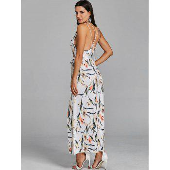 High Slit Floral Sleeveless Palazzo Jumpsuit - WHITE S