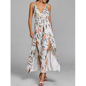 High Slit Floral Sleeveless Palazzo Jumpsuit - WHITE WHITE