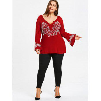 Plus Size Bell Sleeve V Neck T-shirt - WINE RED XL