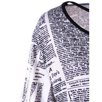 Plus Size Newspaper Lattice Neck T-shirt - WHITE 2XL