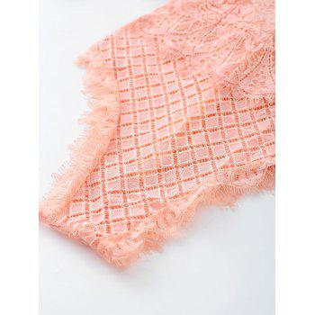 Eyelash Lace Cross Back Slip Teddy - LIGHT PINK XL