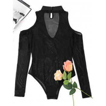 Cut Out Mesh Embroidered Bodysuit - BLACK S