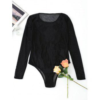 Long Sleeve Embroidered Mesh Bodysuit - BLACK M