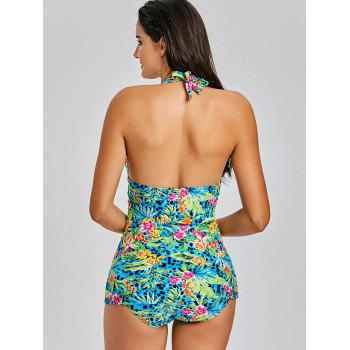 Jungle Flowers Print Halter Tankini Set - COLORMIX M
