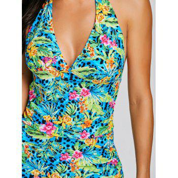 Ensemble de tankini licou imprimé fleurs jungle - multicolorcolore XL