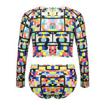Printed Long Sleeves Plus Size Swimsuit - COLORMIX 2XL