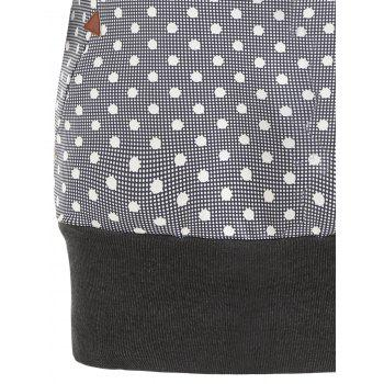 Polka Dot Drawstring Tunic Hoodie - DARK GRAY XL