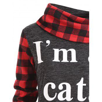 I am A Cat Plaid Insert Sweatshirt - DEEP GRAY 2XL