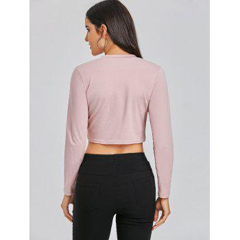 Cropped Front Twist Tee - PALE PINKISH GREY S