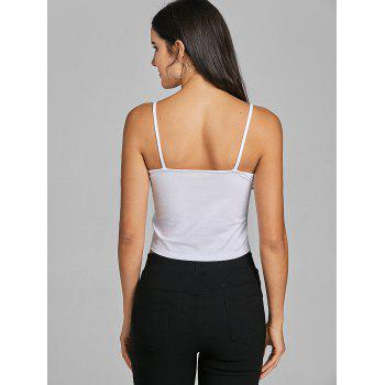 Spaghetti Strap Snap Button Crop Tank Top - WHITE S