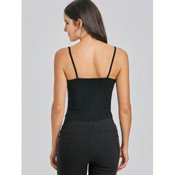 Cami Cropped Snap Button Tank Top - BLACK BLACK