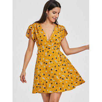 Plunging Floral Print Mini Wrap Dress - YELLOW S