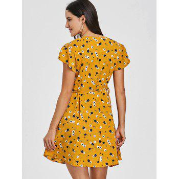 Plunging Floral Print Mini Wrap Dress - YELLOW YELLOW