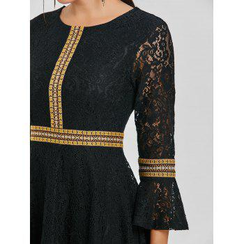 Embroidered Bell Sleeve Lace A Line Dress - BLACK S