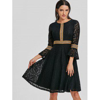 Embroidered Bell Sleeve Lace A Line Dress - BLACK L