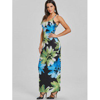 Open Back Floral Maxi Slip Dress - BLACK S