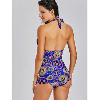 Halter Neck Backless Printed Tankini Set - COLORMIX S