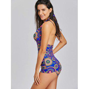 Halter Neck Backless Printed Tankini Set - COLORMIX XL