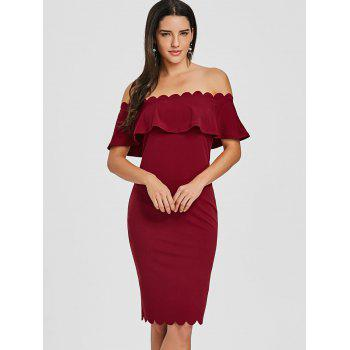 Off The Shoulder Scalloped Bodycon Dress - BURGUNDY L