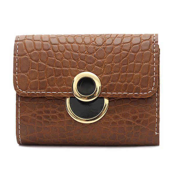 PU Leather Embossing Tri Fold Wallet - DEEP BROWN