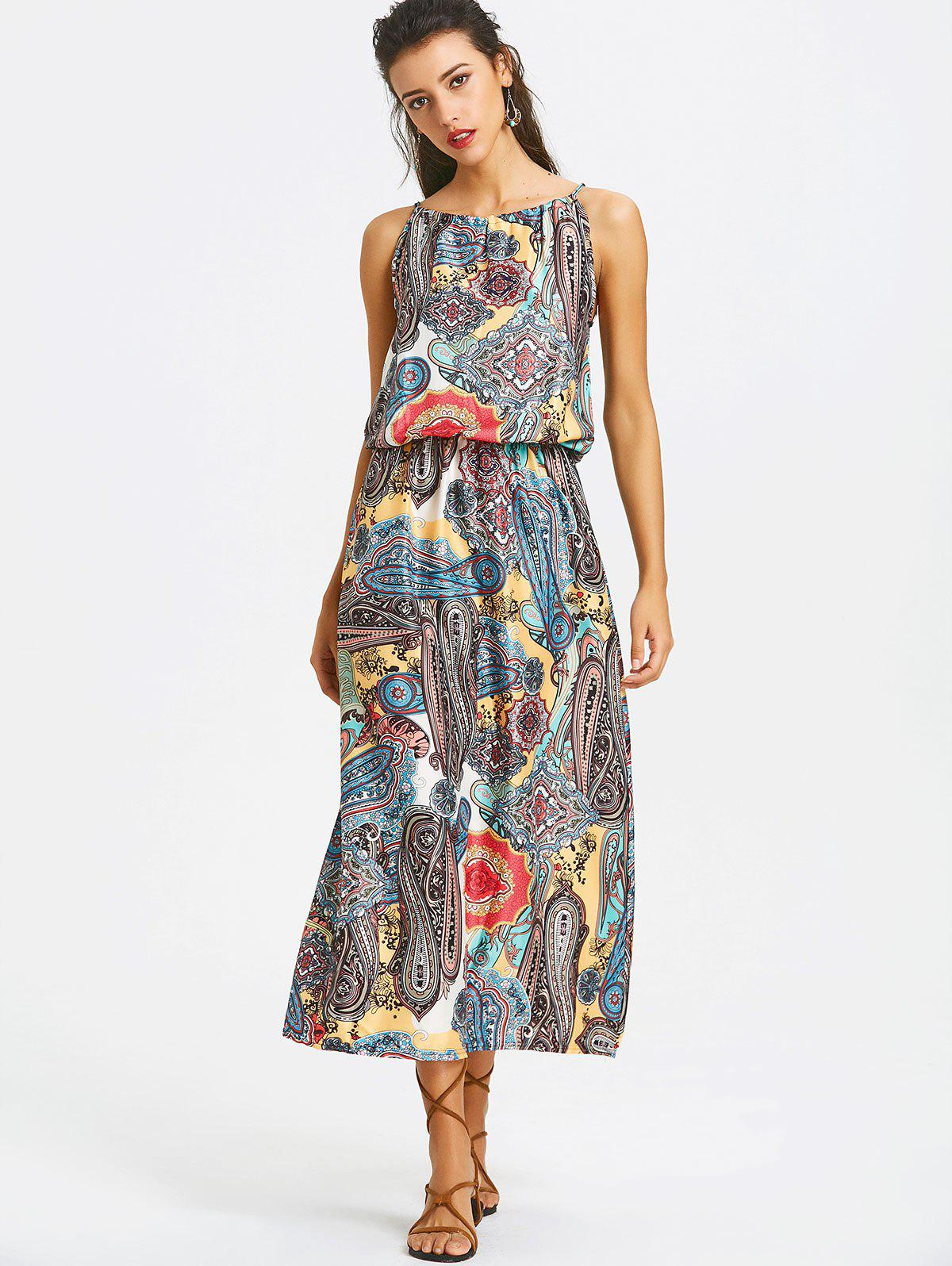 Printed Elastic Waist Maxi Dress