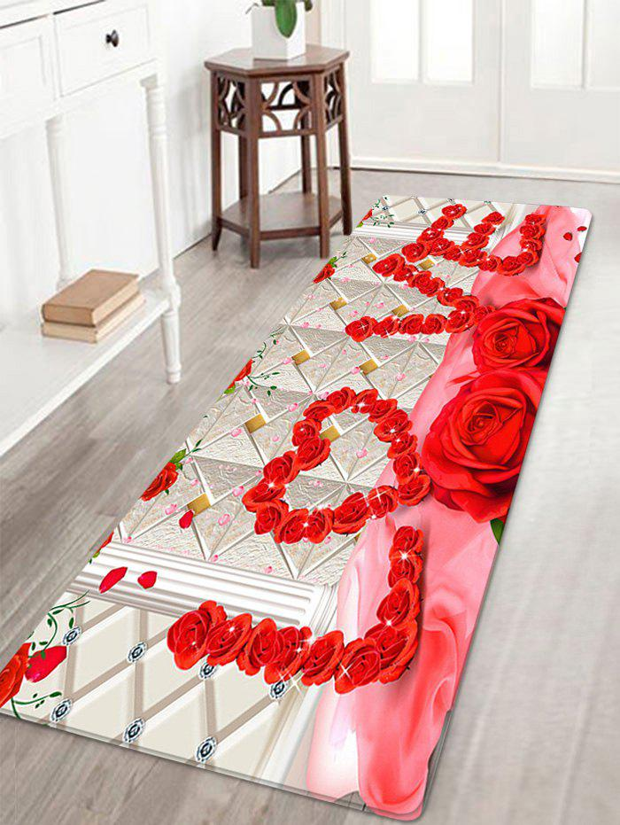 Valentine's Day Roses Love Pattern Indoor Outdoor Area Rug - COLORMIX W16 INCH * L47 INCH