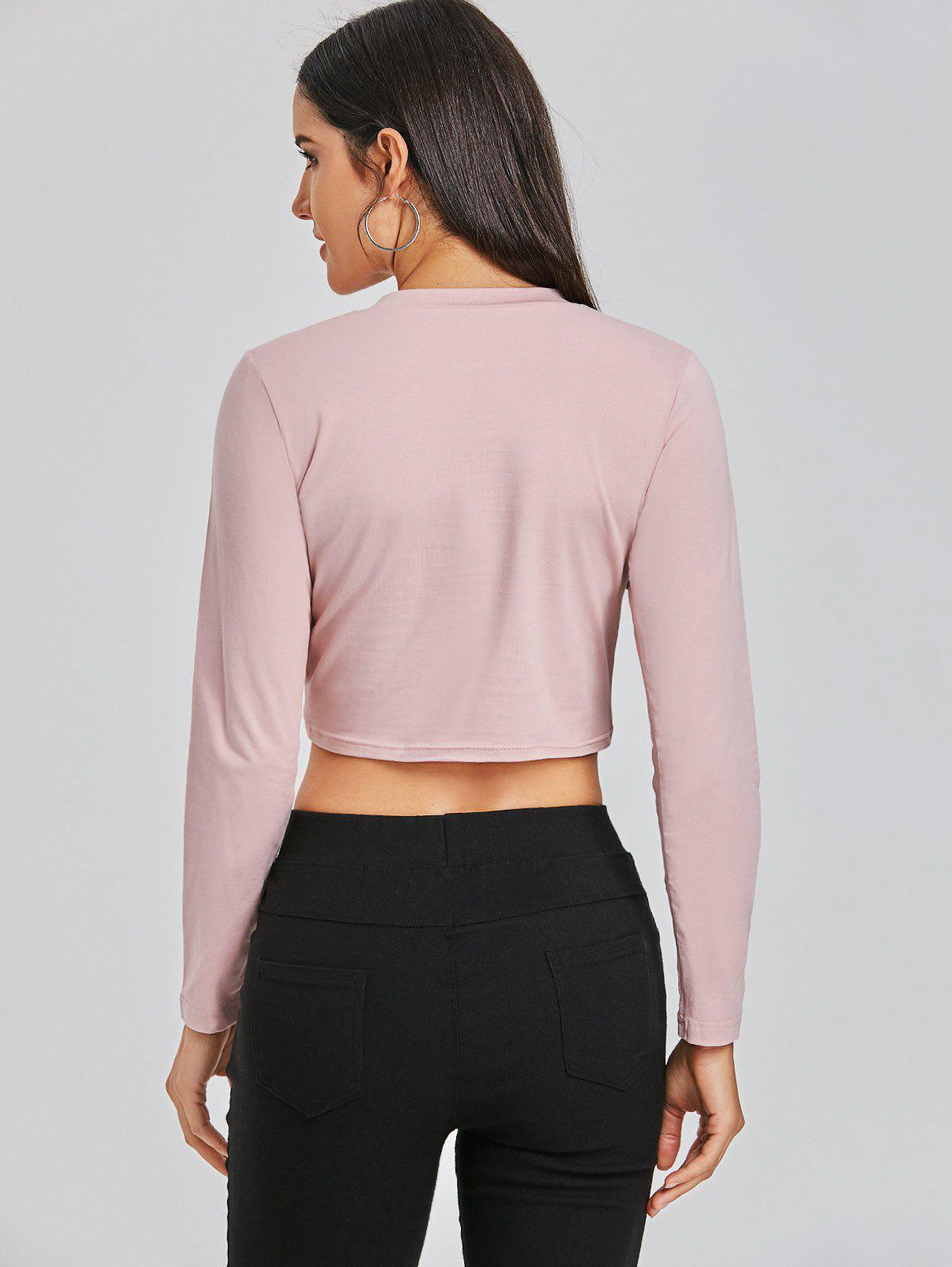 Cropped Front Twist Tee - PALE PINKISH GREY M